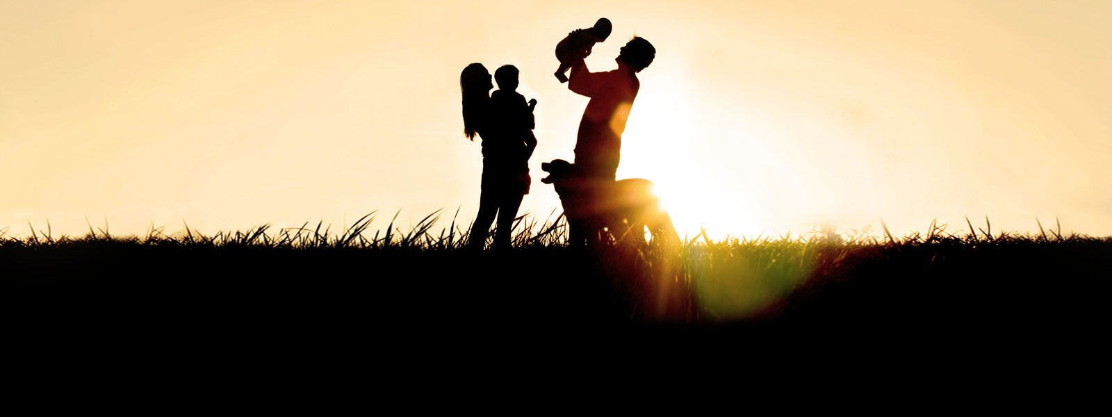 Silhouette of family in a field at sunrise.